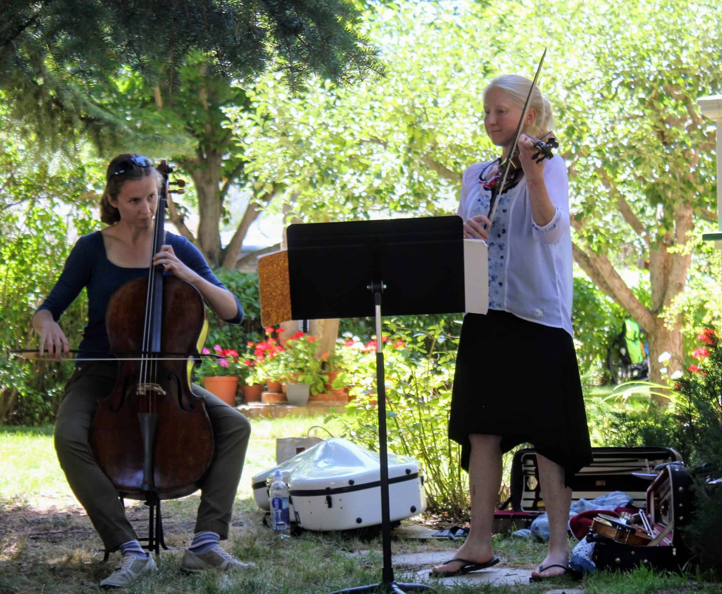 Annabeth Shirley, Carrie Krause at the Period Performance Workshop, photo courtesy Bozeman Symphony