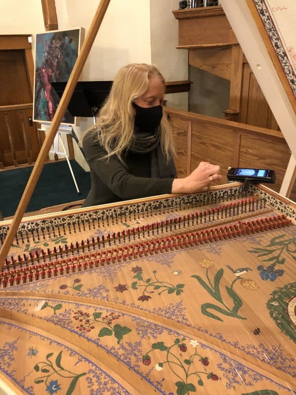 Carrie tunes the BaMM harpsichord